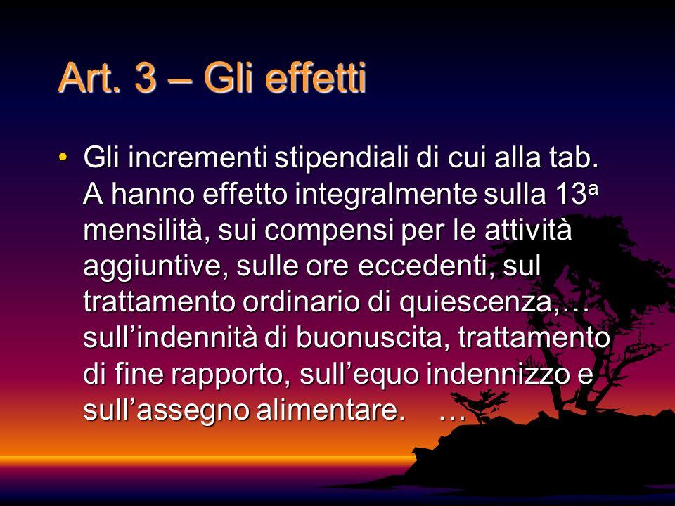 Art.3 – Gli effetti Gli incrementi stipendiali di cui alla tab.