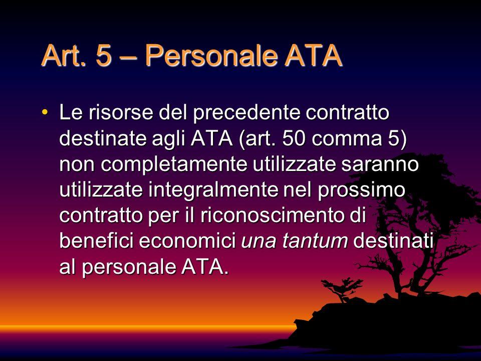 Art. 5 – Personale ATA Le risorse del precedente contratto destinate agli ATA (art. 50 comma 5) non completamente utilizzate saranno utilizzate integr