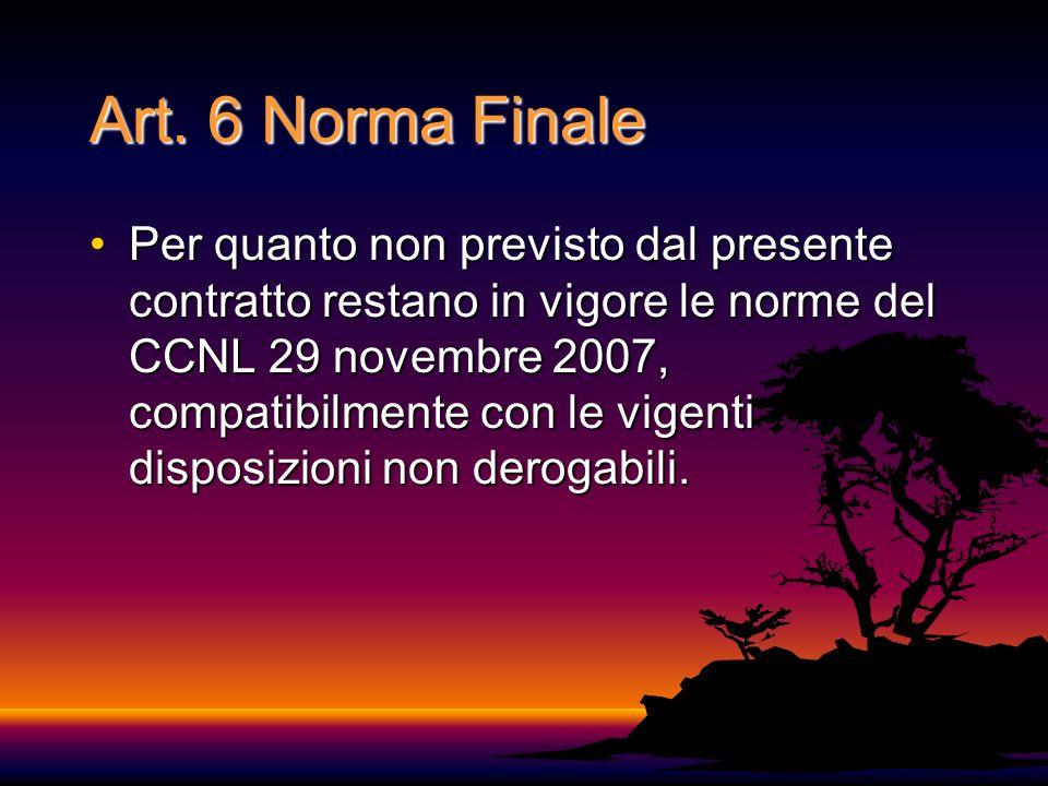 Art. 6 Norma Finale Per quanto non previsto dal presente contratto restano in vigore le norme del CCNL 29 novembre 2007, compatibilmente con le vigent