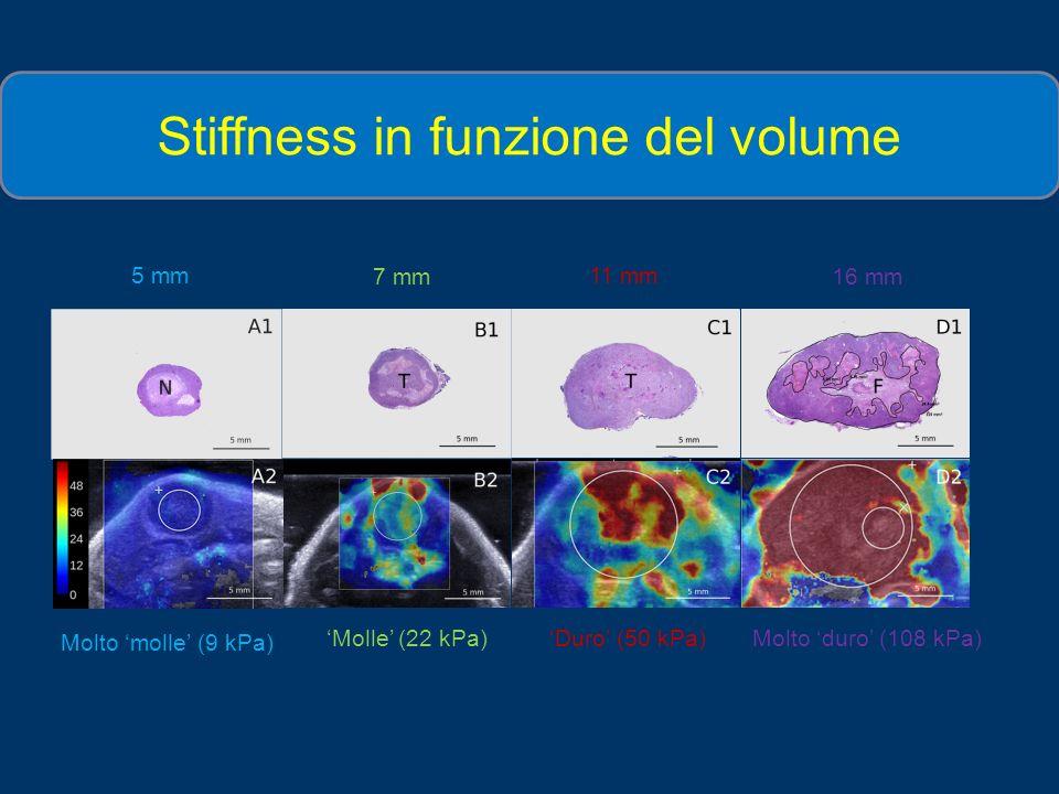 Stiffness in funzione del volume a) Molto molle (9 kPa) Duro (50 kPa)Molto duro (108 kPa) Molle (22 kPa) 5 mm 11 mm 16 mm7 mm