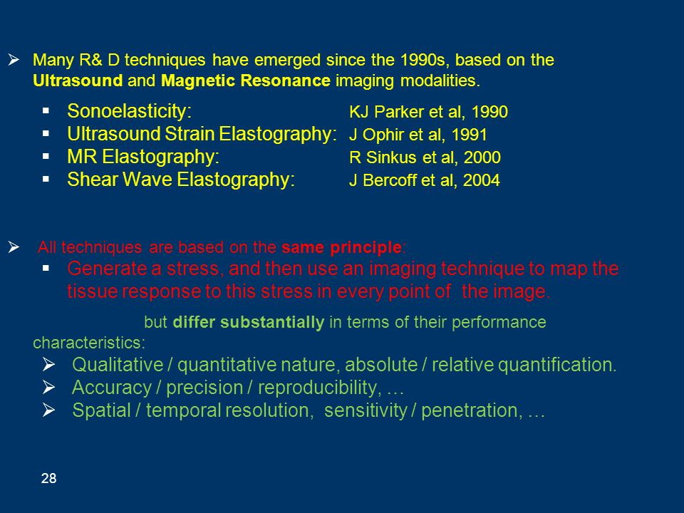 Many R& D techniques have emerged since the 1990s, based on the Ultrasound and Magnetic Resonance imaging modalities. Sonoelasticity: KJ Parker et al,