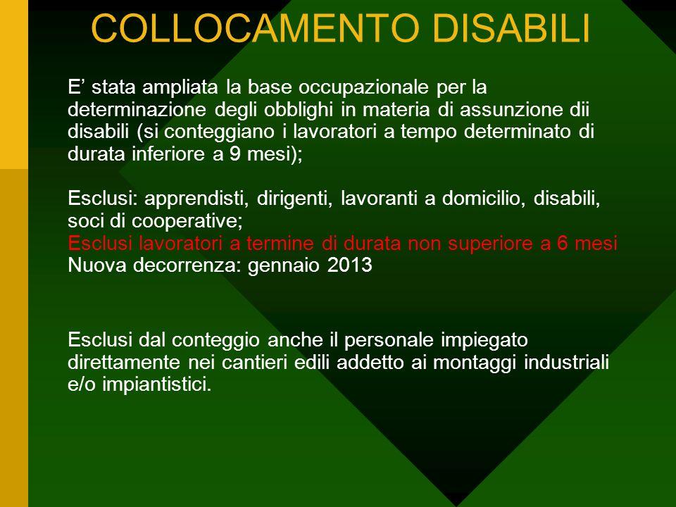 COLLOCAMENTO DISABILI E stata ampliata la base occupazionale per la determinazione degli obblighi in materia di assunzione dii disabili (si conteggian