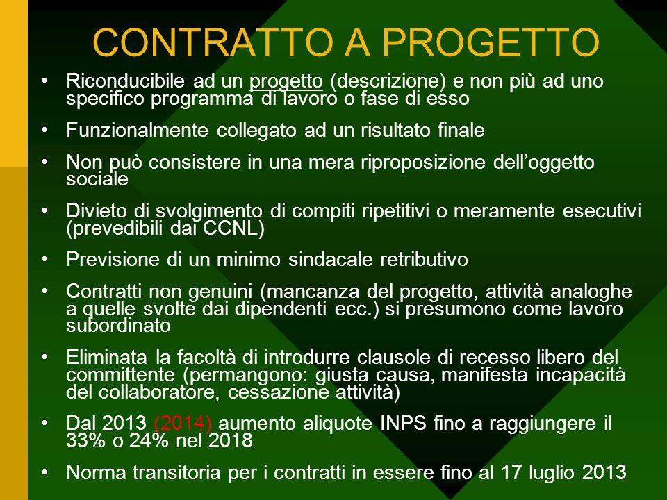 CONTRATTO A PROGETTO Riconducibile ad un progetto (descrizione) e non più ad uno specifico programma di lavoro o fase di esso Funzionalmente collegato