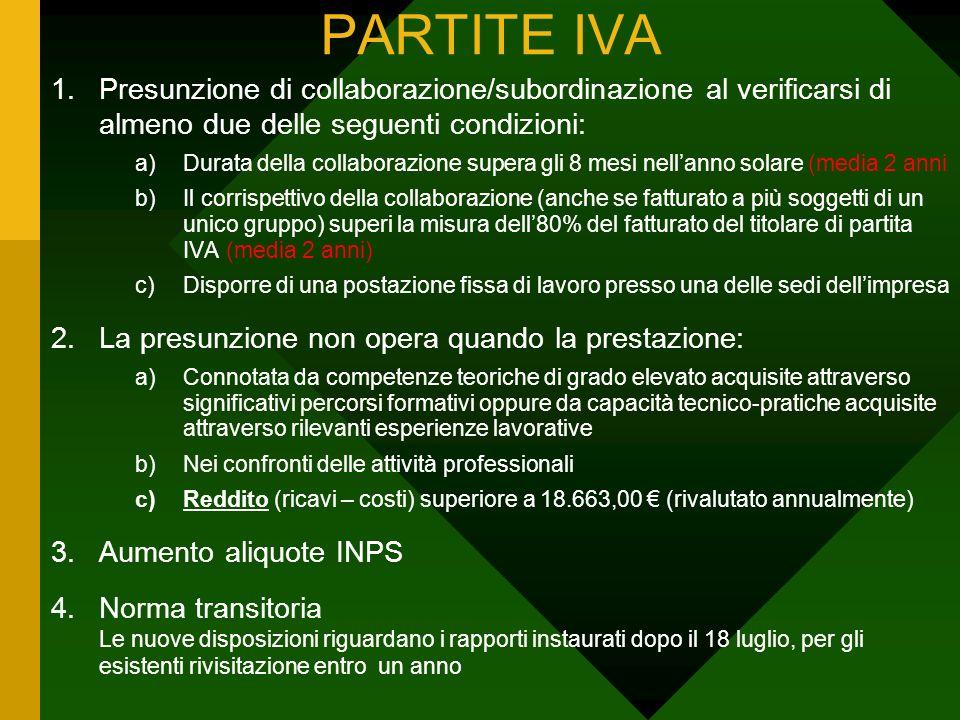 PARTITE IVA 1.Presunzione di collaborazione/subordinazione al verificarsi di almeno due delle seguenti condizioni: a)Durata della collaborazione super