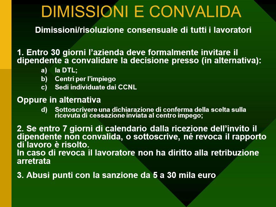 DIMISSIONI E CONVALIDA Dimissioni/risoluzione consensuale di tutti i lavoratori 1. Entro 30 giorni lazienda deve formalmente invitare il dipendente a