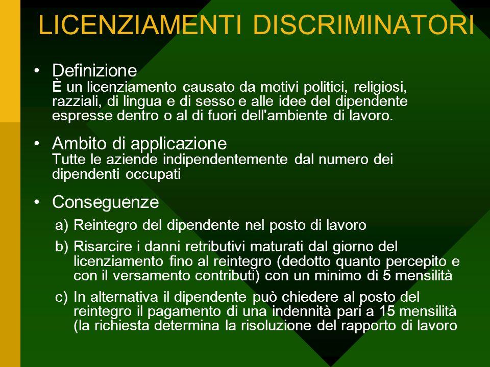LICENZIAMENTI DISCRIMINATORI Definizione È un licenziamento causato da motivi politici, religiosi, razziali, di lingua e di sesso e alle idee del dipe