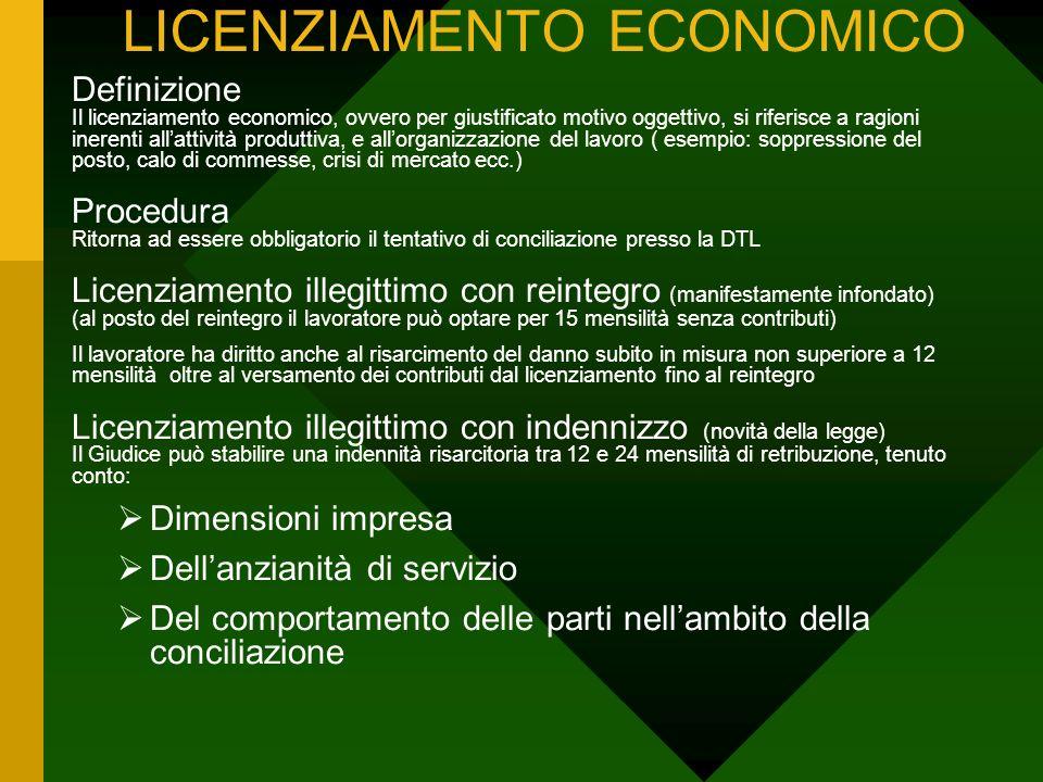 LICENZIAMENTO ECONOMICO Definizione Il licenziamento economico, ovvero per giustificato motivo oggettivo, si riferisce a ragioni inerenti allattività