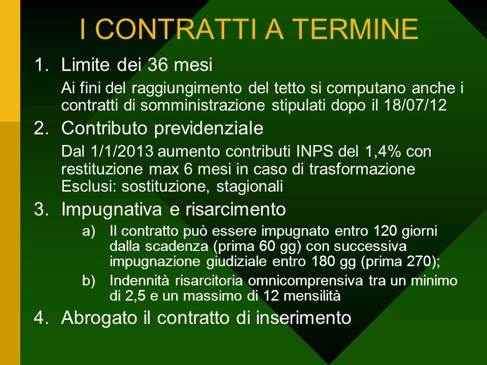 I CONTRATTI A TERMINE 1.Limite dei 36 mesi Ai fini del raggiungimento del tetto si computano anche i contratti di somministrazione stipulati dopo il 1