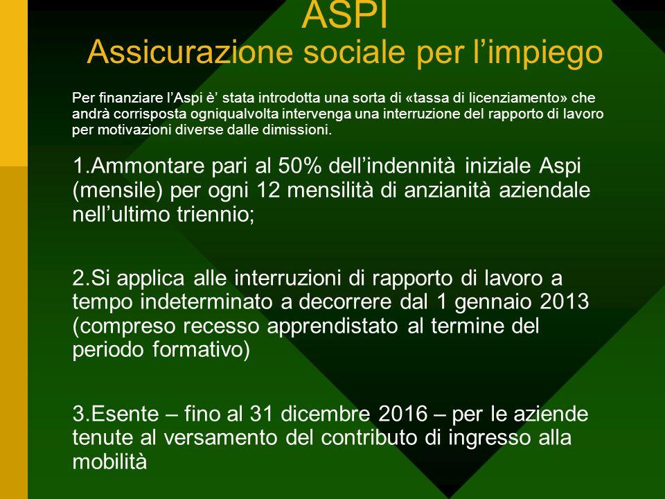 ASPI Assicurazione sociale per limpiego Per finanziare lAspi è stata introdotta una sorta di «tassa di licenziamento» che andrà corrisposta ogniqualvo