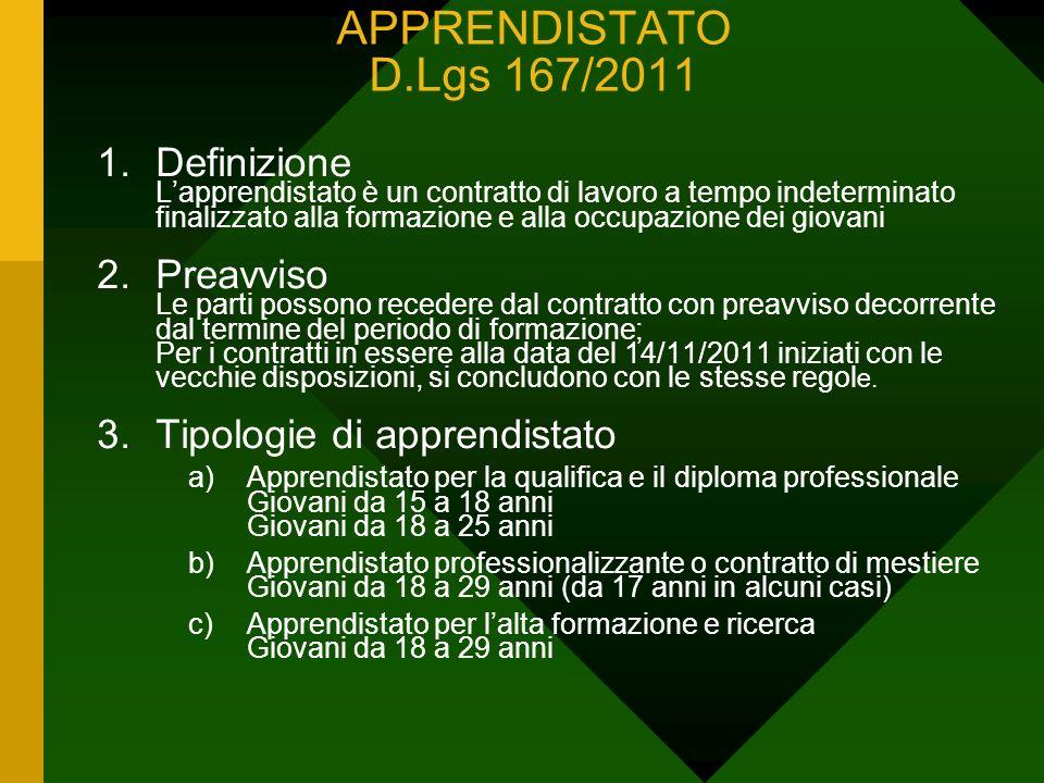 APPRENDISTATO D.Lgs 167/2011 1.Definizione Lapprendistato è un contratto di lavoro a tempo indeterminato finalizzato alla formazione e alla occupazion