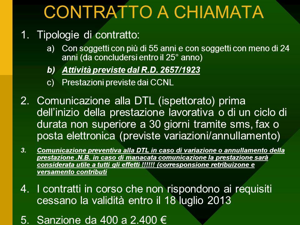 CONTRATTO A CHIAMATA 1.Tipologie di contratto: a)Con soggetti con più di 55 anni e con soggetti con meno di 24 anni (da concludersi entro il 25° anno)