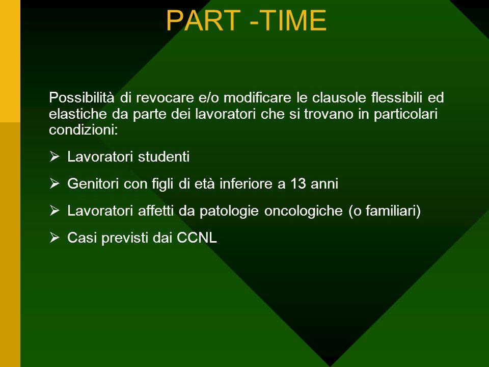 PART -TIME Possibilità di revocare e/o modificare le clausole flessibili ed elastiche da parte dei lavoratori che si trovano in particolari condizioni