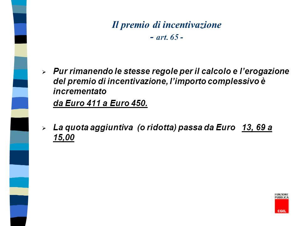 Il premio di incentivazione - art. 65 - Pur rimanendo le stesse regole per il calcolo e lerogazione del premio di incentivazione, limporto complessivo