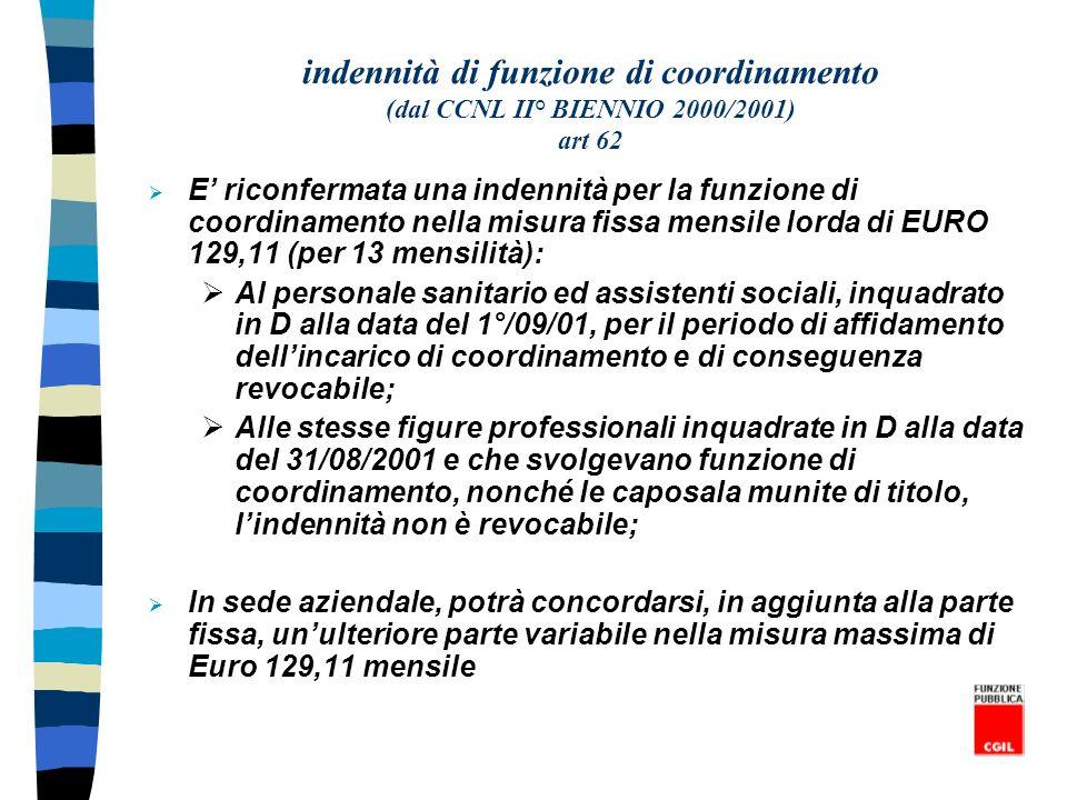 indennità di funzione di coordinamento (dal CCNL II° BIENNIO 2000/2001) art 62 E riconfermata una indennità per la funzione di coordinamento nella mis