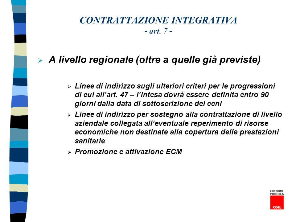 CONTRATTAZIONE INTEGRATIVA - art. 7 - A livello regionale (oltre a quelle già previste) Linee di indirizzo sugli ulteriori criteri per le progressioni