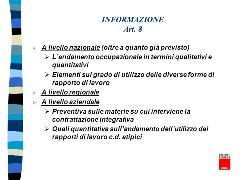 INFORMAZIONE Art. 8 A livello nazionale (oltre a quanto già previsto) Landamento occupazionale in termini qualitativi e quantitativi Elementi sul grad
