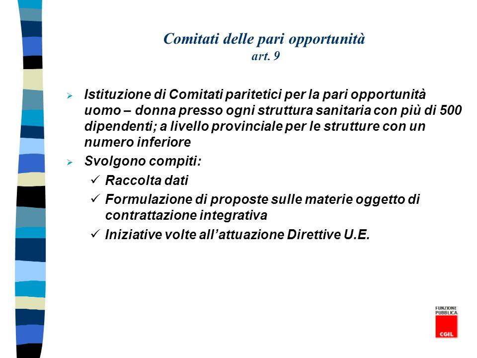 Comitati delle pari opportunità art. 9 Istituzione di Comitati paritetici per la pari opportunità uomo – donna presso ogni struttura sanitaria con più