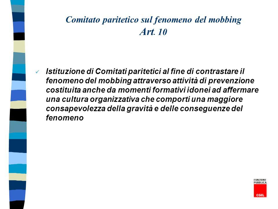 Comitato paritetico sul fenomeno del mobbing Art. 10 Istituzione di Comitati paritetici al fine di contrastare il fenomeno del mobbing attraverso atti