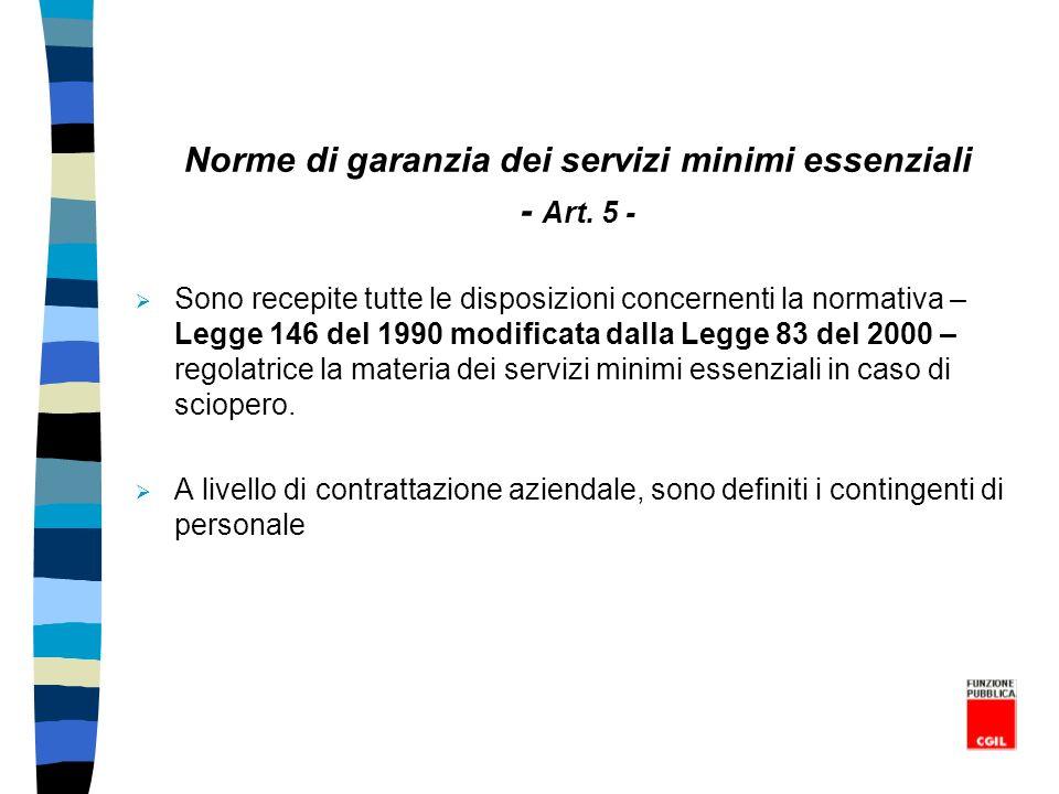 Norme di garanzia dei servizi minimi essenziali - Art. 5 - Sono recepite tutte le disposizioni concernenti la normativa – Legge 146 del 1990 modificat