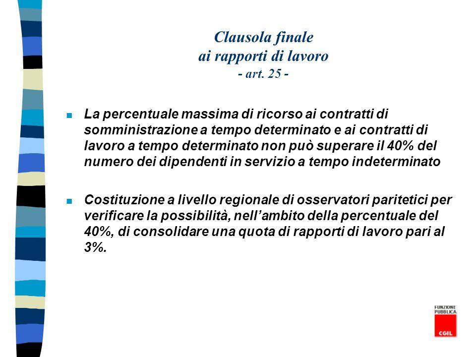 Clausola finale ai rapporti di lavoro - art. 25 - n La percentuale massima di ricorso ai contratti di somministrazione a tempo determinato e ai contra