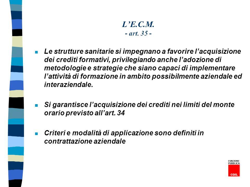 LE.C.M. - art. 35 - n Le strutture sanitarie si impegnano a favorire lacquisizione dei crediti formativi, privilegiando anche ladozione di metodologie