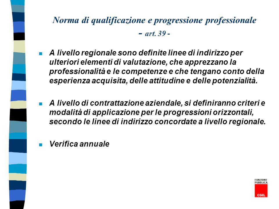 Norma di qualificazione e progressione professionale - art. 39 - n A livello regionale sono definite linee di indirizzo per ulteriori elementi di valu