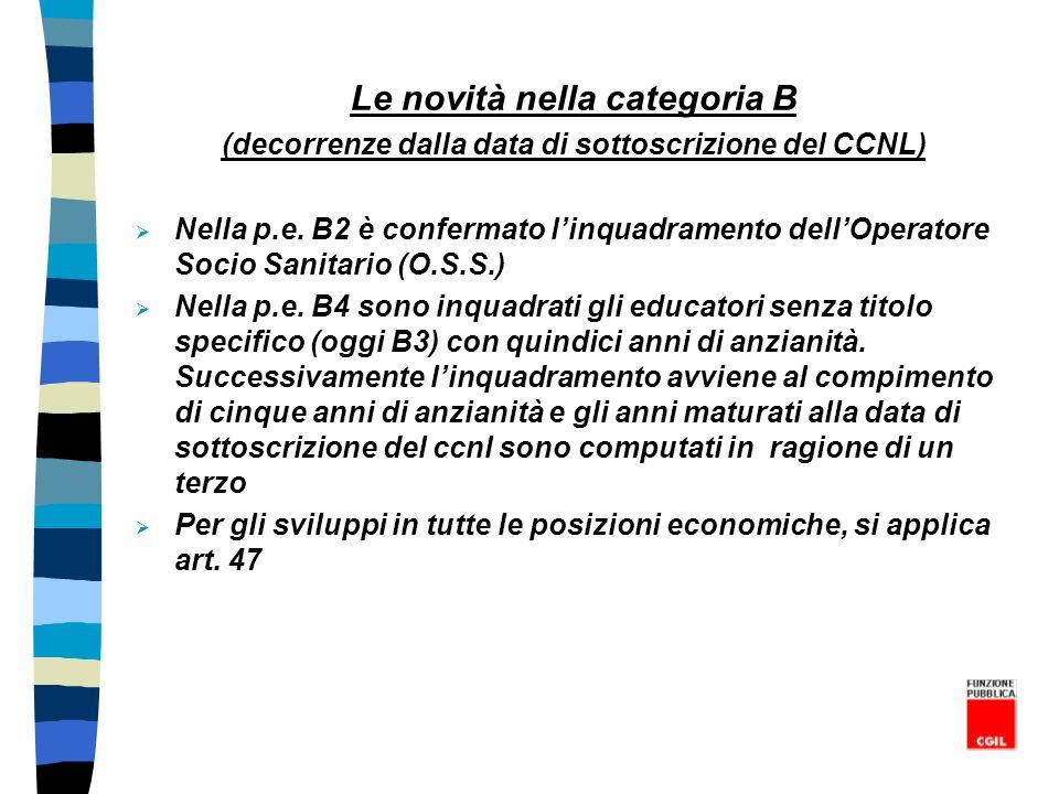Le novità nella categoria B (decorrenze dalla data di sottoscrizione del CCNL) Nella p.e. B2 è confermato linquadramento dellOperatore Socio Sanitario