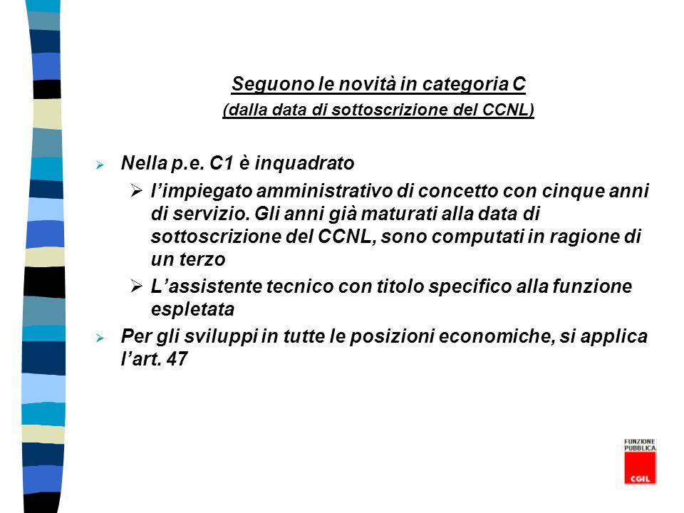 Seguono le novità in categoria C (dalla data di sottoscrizione del CCNL) Nella p.e. C1 è inquadrato limpiegato amministrativo di concetto con cinque a