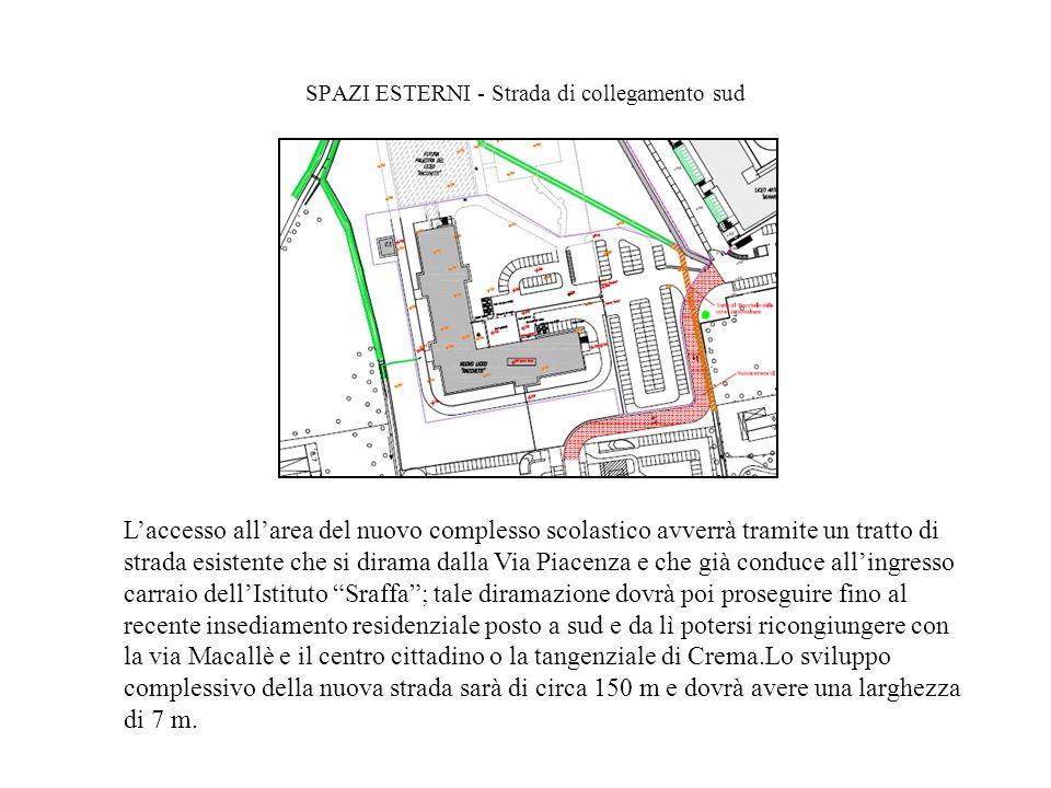 SPAZI ESTERNI - Strada di collegamento sud Laccesso allarea del nuovo complesso scolastico avverrà tramite un tratto di strada esistente che si dirama
