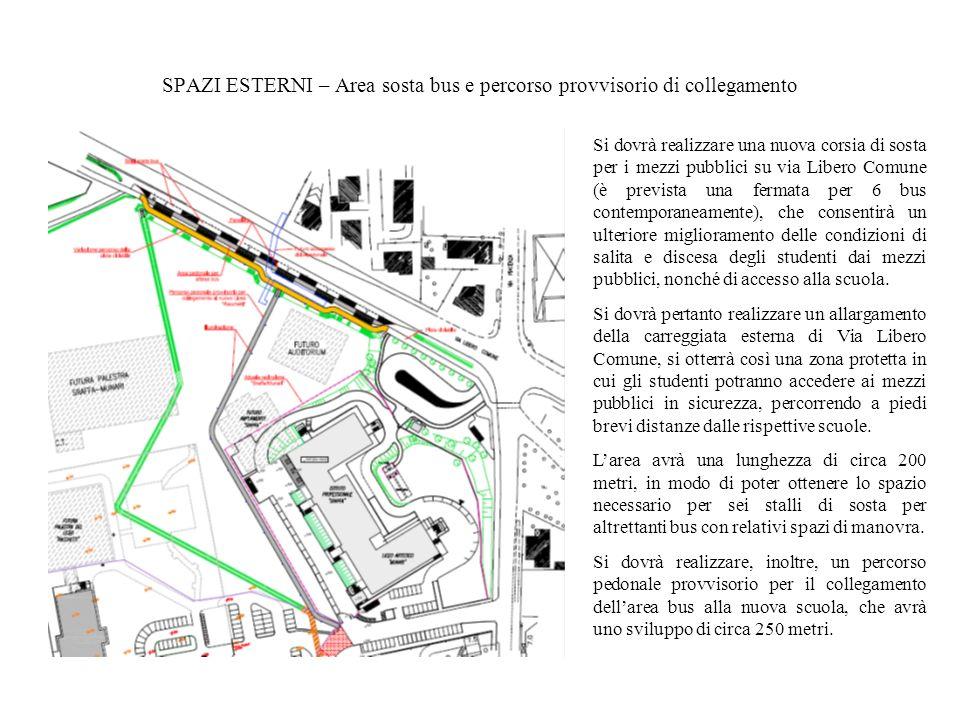 SPAZI ESTERNI – Area sosta bus e percorso provvisorio di collegamento Si dovrà realizzare una nuova corsia di sosta per i mezzi pubblici su via Libero