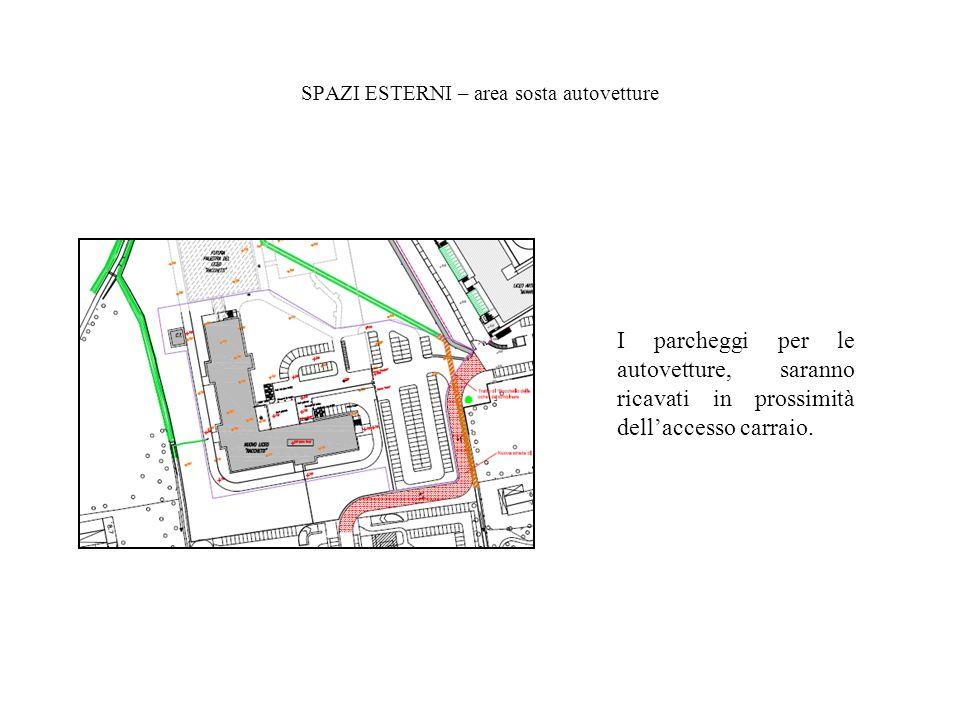 SPAZI ESTERNI – area sosta autovetture I parcheggi per le autovetture, saranno ricavati in prossimità dellaccesso carraio.