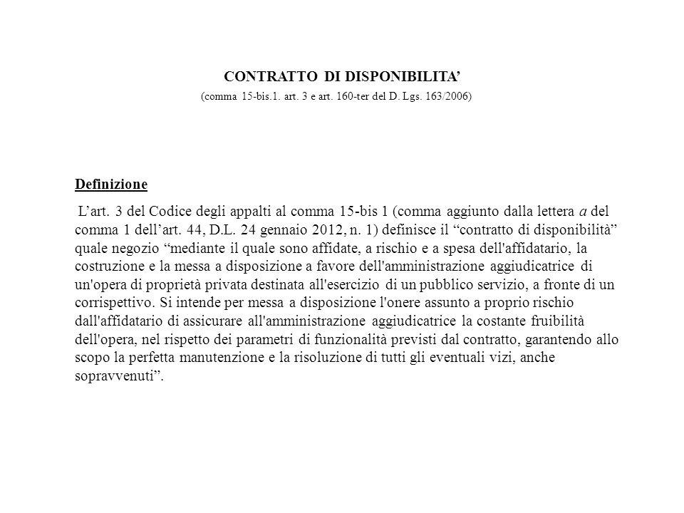 Definizione Lart. 3 del Codice degli appalti al comma 15-bis 1 (comma aggiunto dalla lettera a del comma 1 dellart. 44, D.L. 24 gennaio 2012, n. 1) de
