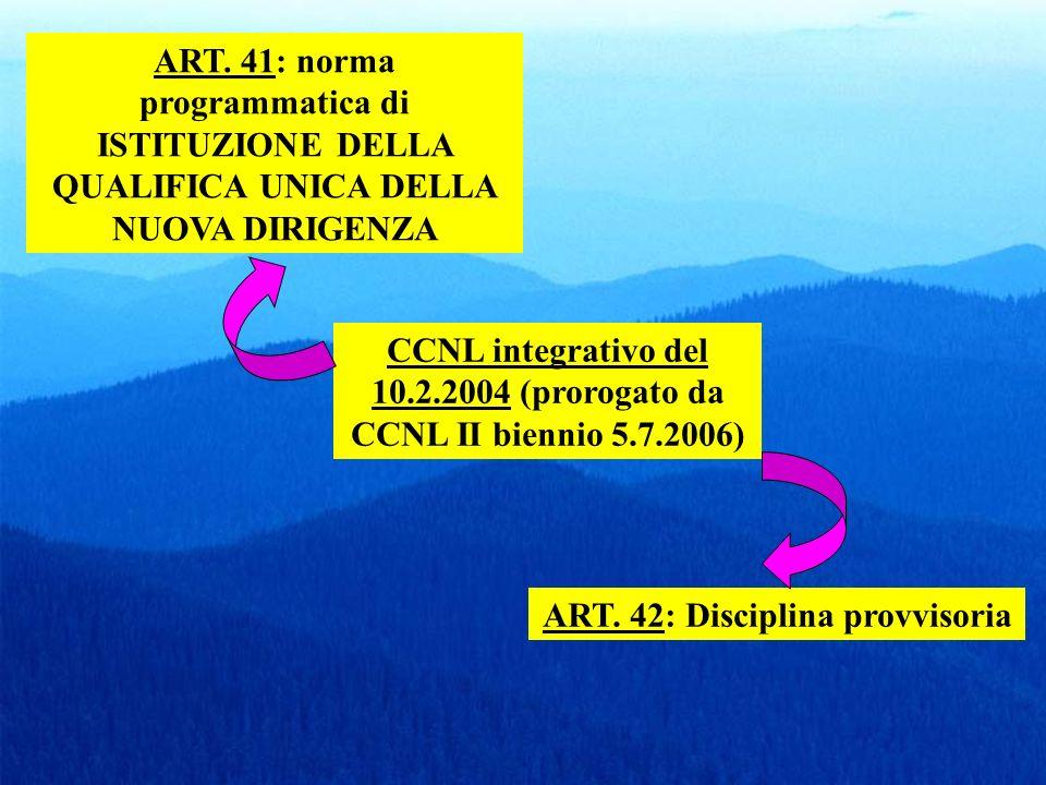 ART. 41: norma programmatica di ISTITUZIONE DELLA QUALIFICA UNICA DELLA NUOVA DIRIGENZA CCNL integrativo del 10.2.2004 (prorogato da CCNL II biennio 5
