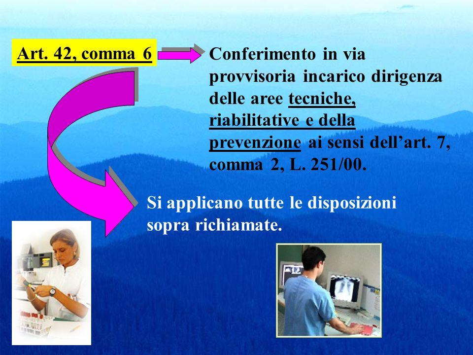 Art. 42, comma 6 Conferimento in via provvisoria incarico dirigenza delle aree tecniche, riabilitative e della prevenzione ai sensi dellart. 7, comma