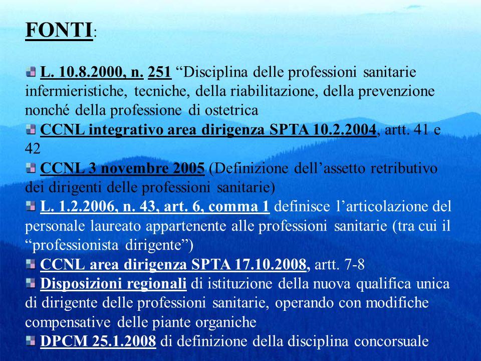 FONTI : L. 10.8.2000, n. 251 Disciplina delle professioni sanitarie infermieristiche, tecniche, della riabilitazione, della prevenzione nonché della p