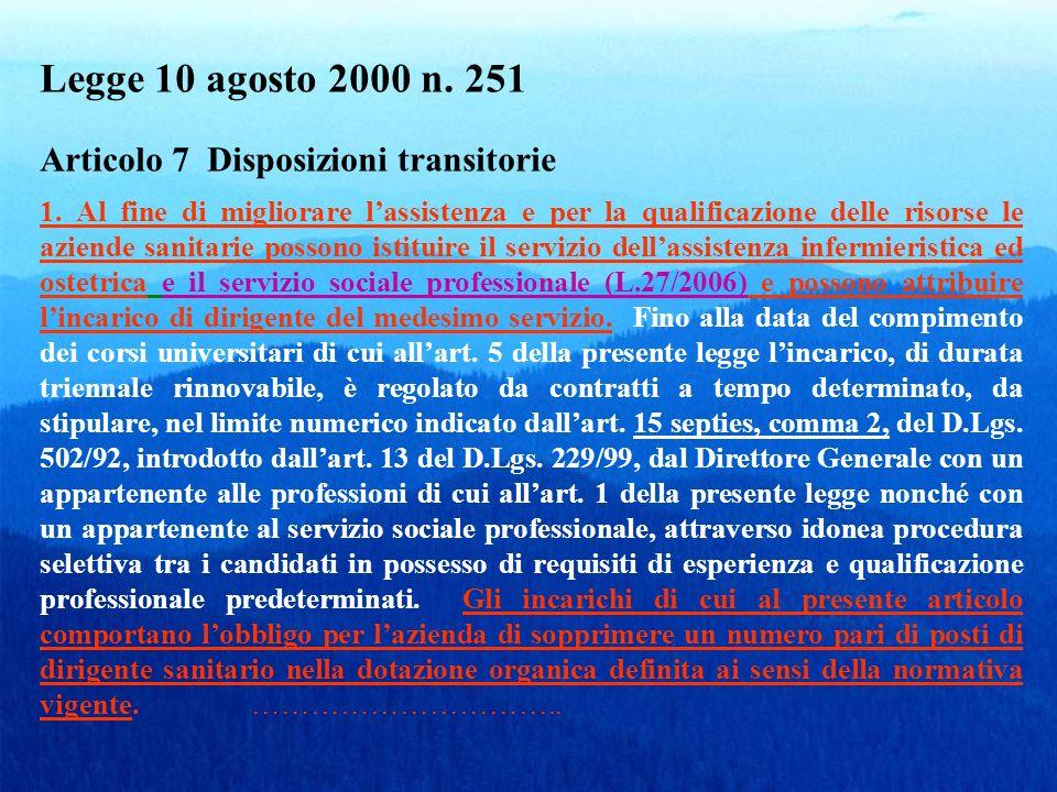 Legge 10 agosto 2000 n. 251 Articolo 7 Disposizioni transitorie 1. Al fine di migliorare lassistenza e per la qualificazione delle risorse le aziende