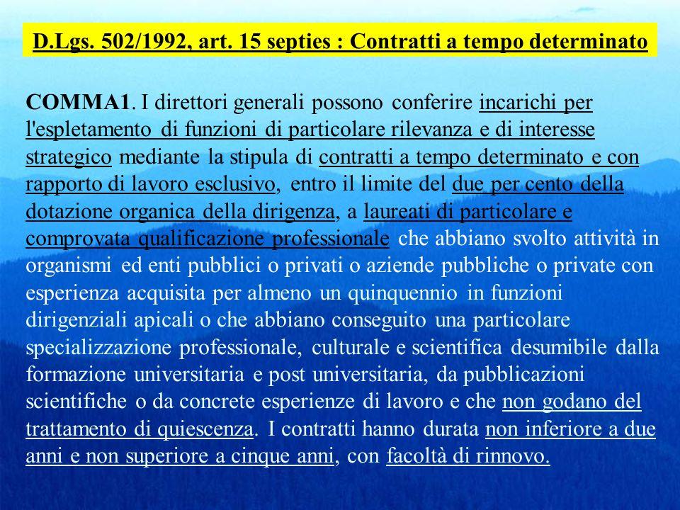 D.Lgs. 502/1992, art. 15 septies : Contratti a tempo determinato COMMA1. I direttori generali possono conferire incarichi per l'espletamento di funzio