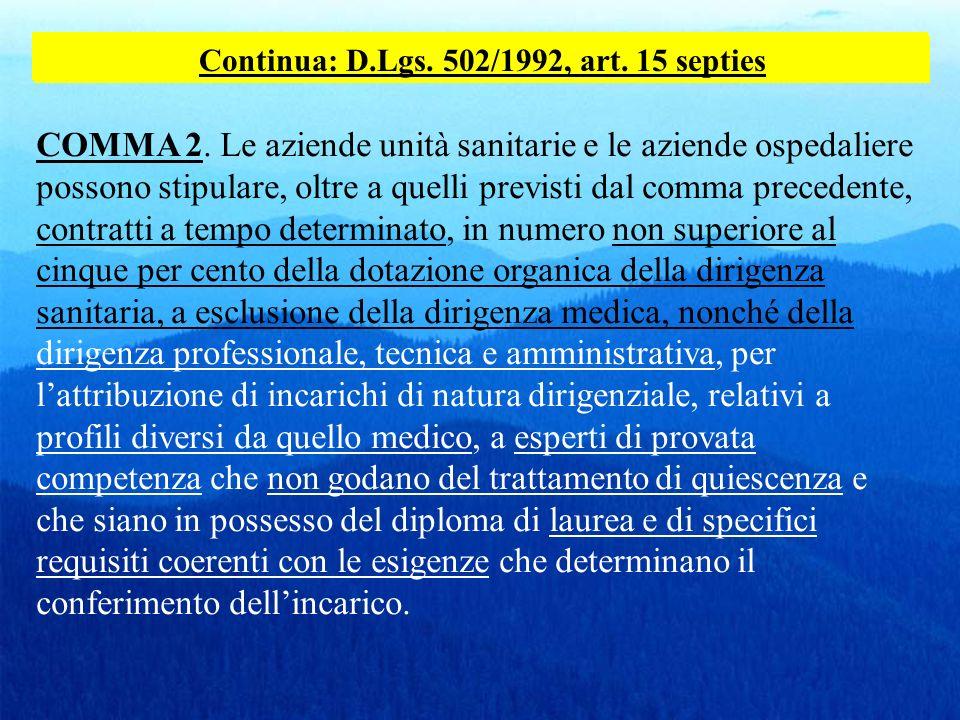 Continua: D.Lgs. 502/1992, art. 15 septies COMMA 2. Le aziende unità sanitarie e le aziende ospedaliere possono stipulare, oltre a quelli previsti dal