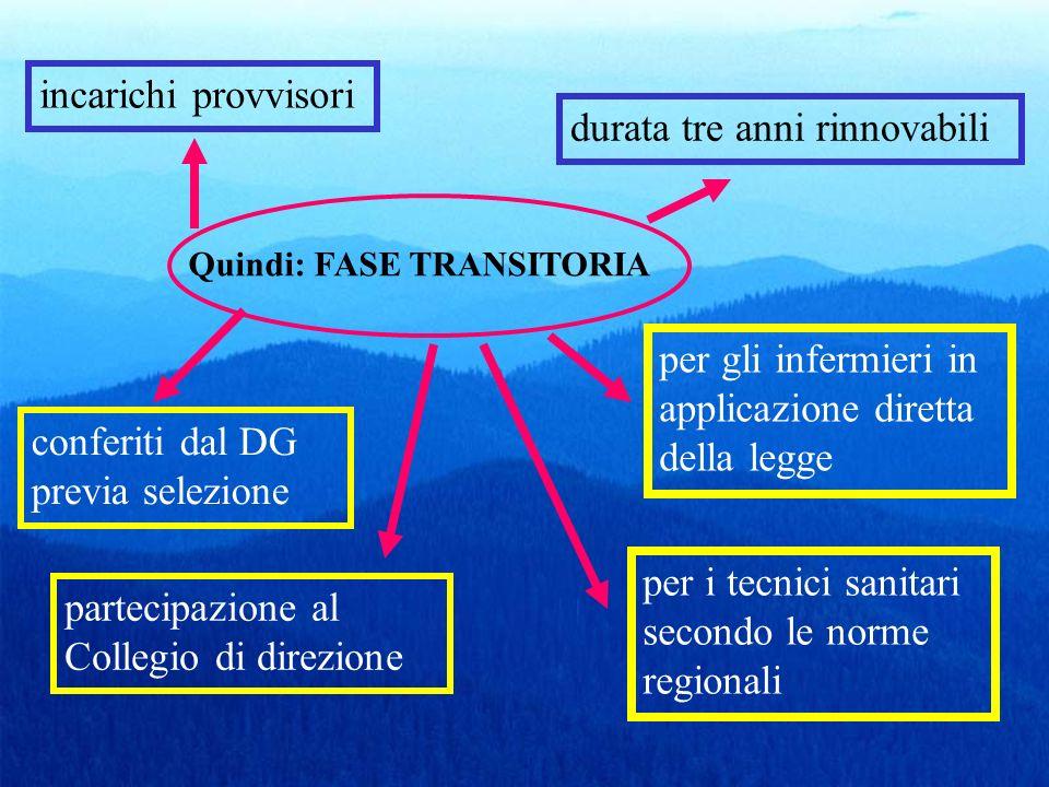 Quindi: FASE TRANSITORIA incarichi provvisori durata tre anni rinnovabili conferiti dal DG previa selezione per gli infermieri in applicazione diretta
