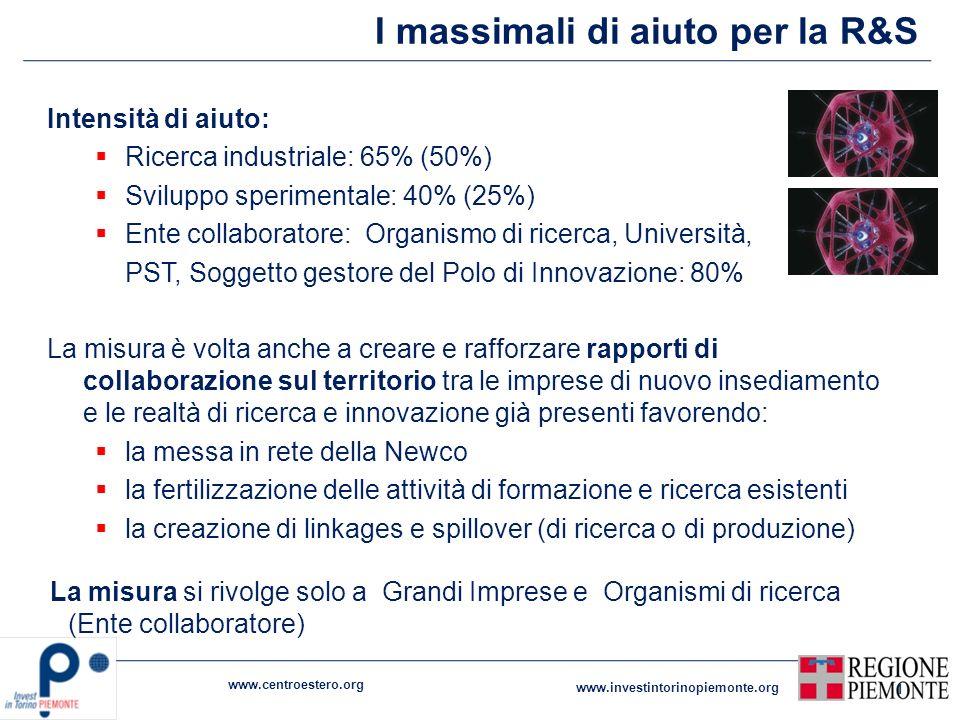 I massimali di aiuto per la R&S Intensità di aiuto: Ricerca industriale: 65% (50%) Sviluppo sperimentale: 40% (25%) Ente collaboratore: Organismo di r