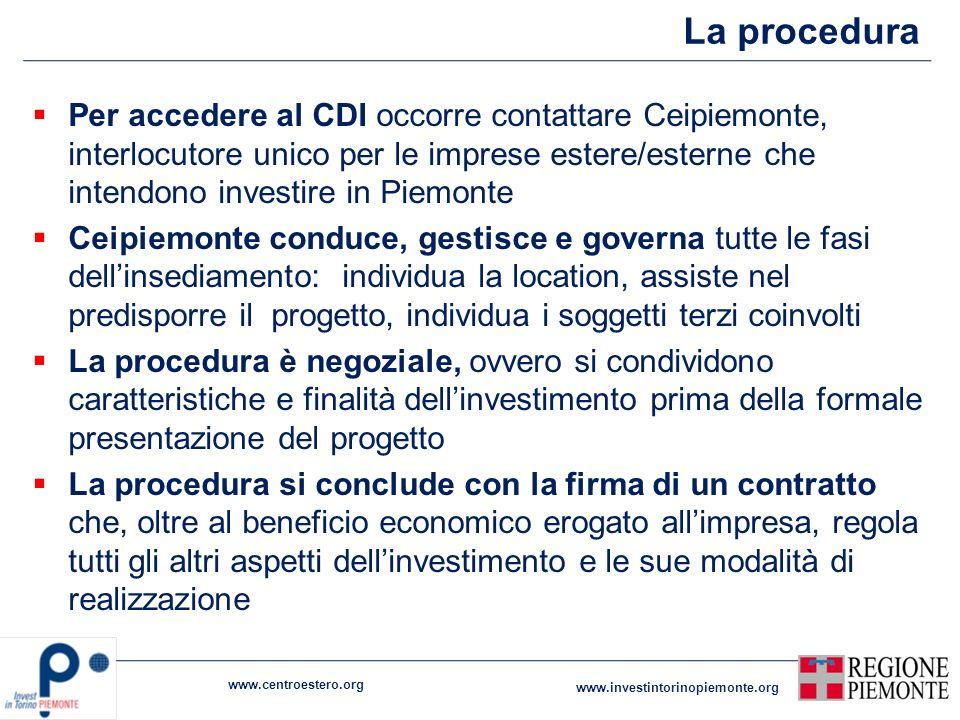 La procedura www.centroestero.org www.investintorinopiemonte.org Per accedere al CDI occorre contattare Ceipiemonte, interlocutore unico per le impres