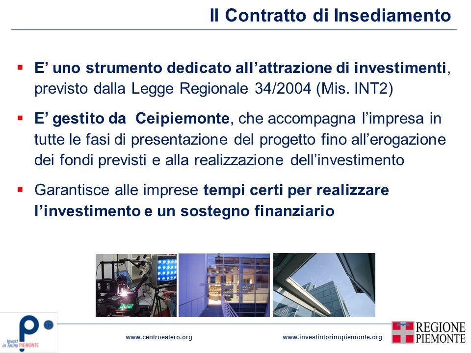 Il Contratto di Insediamento www.centroestero.orgwww.investintorinopiemonte.org E uno strumento dedicato allattrazione di investimenti, previsto dalla