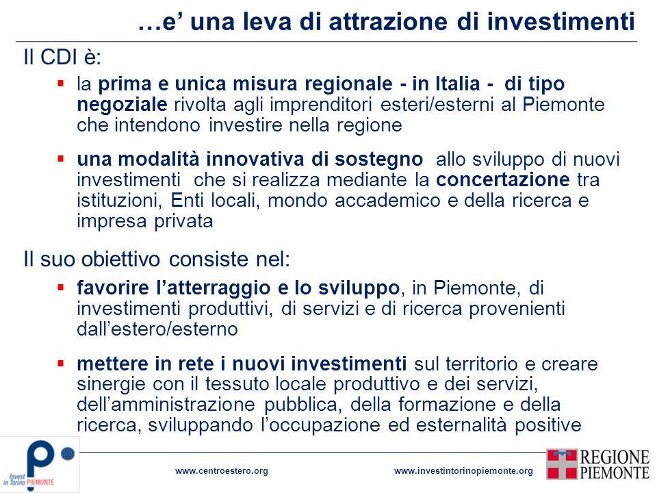 …e una leva di attrazione di investimenti www.centroestero.orgwww.investintorinopiemonte.org Il CDI è: la prima e unica misura regionale - in Italia -