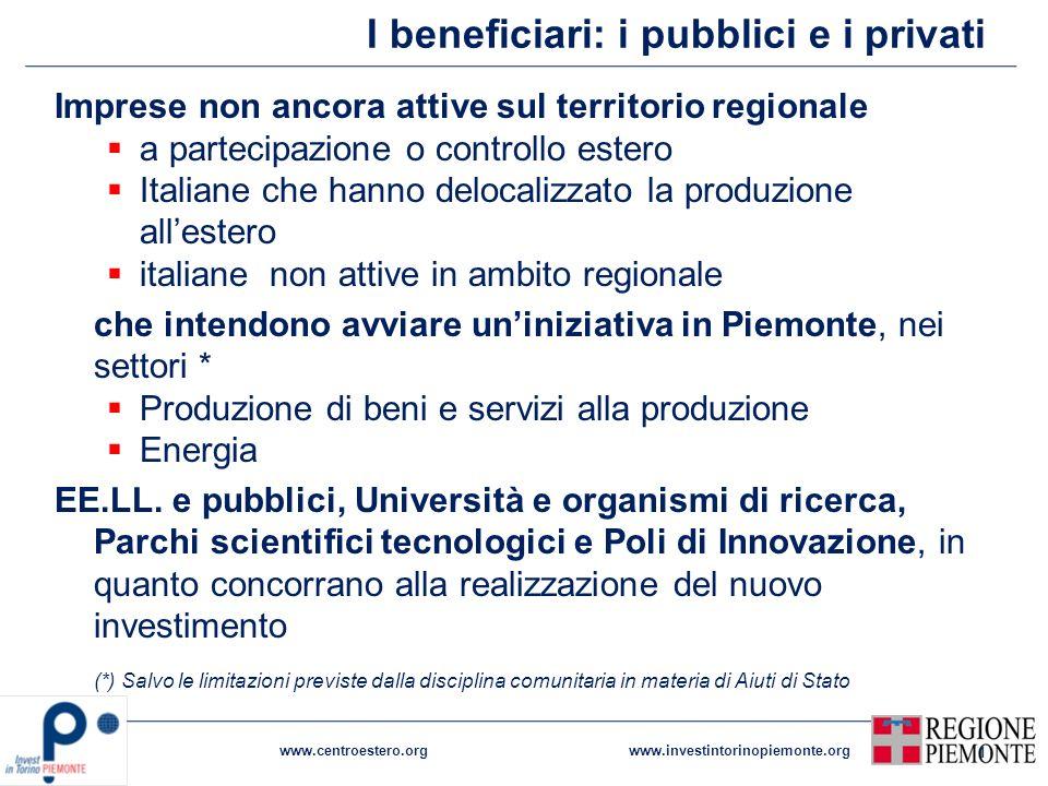 I beneficiari: i pubblici e i privati Imprese non ancora attive sul territorio regionale a partecipazione o controllo estero Italiane che hanno deloca