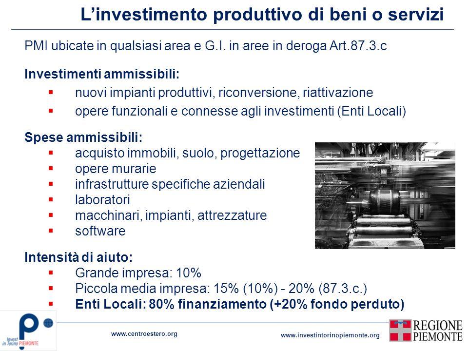 Linvestimento produttivo di beni o servizi PMI ubicate in qualsiasi area e G.I. in aree in deroga Art.87.3.c Investimenti ammissibili: nuovi impianti