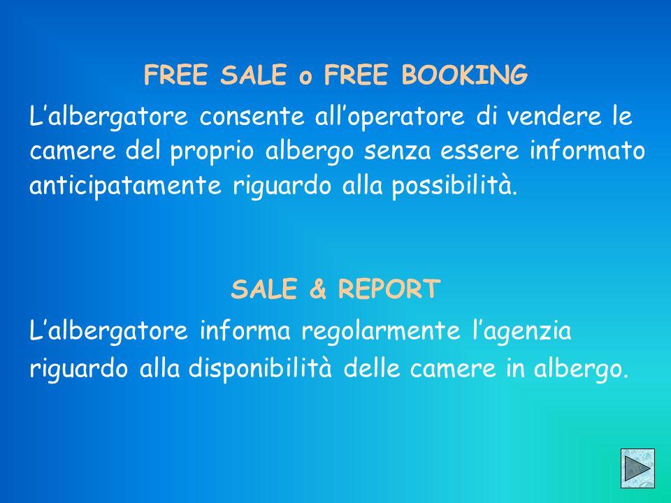 FREE SALE o FREE BOOKING Lalbergatore consente alloperatore di vendere le camere del proprio albergo senza essere informato anticipatamente riguardo a