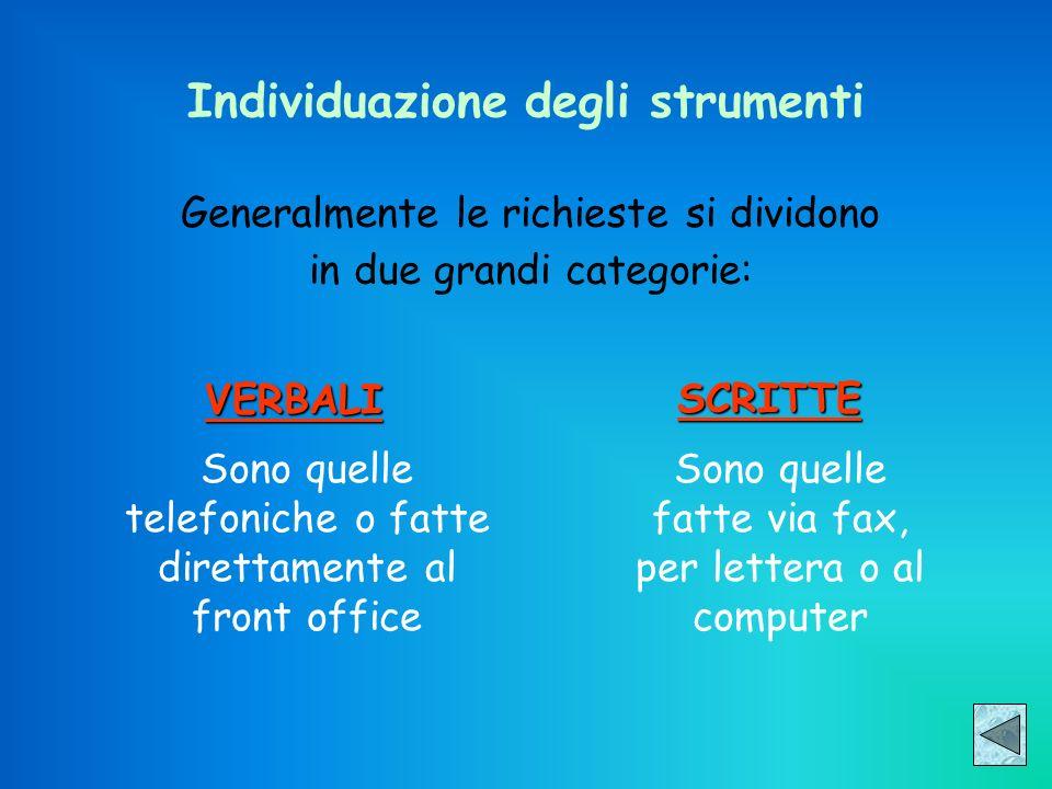 Individuazione degli strumenti Generalmente le richieste si dividono in due grandi categorie: VERBALISCRITTE Sono quelle telefoniche o fatte direttame