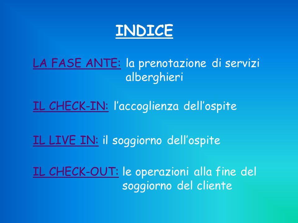 INDICE DEL LIVE IN Attività affidate dalla direzione Attività richieste dal cliente