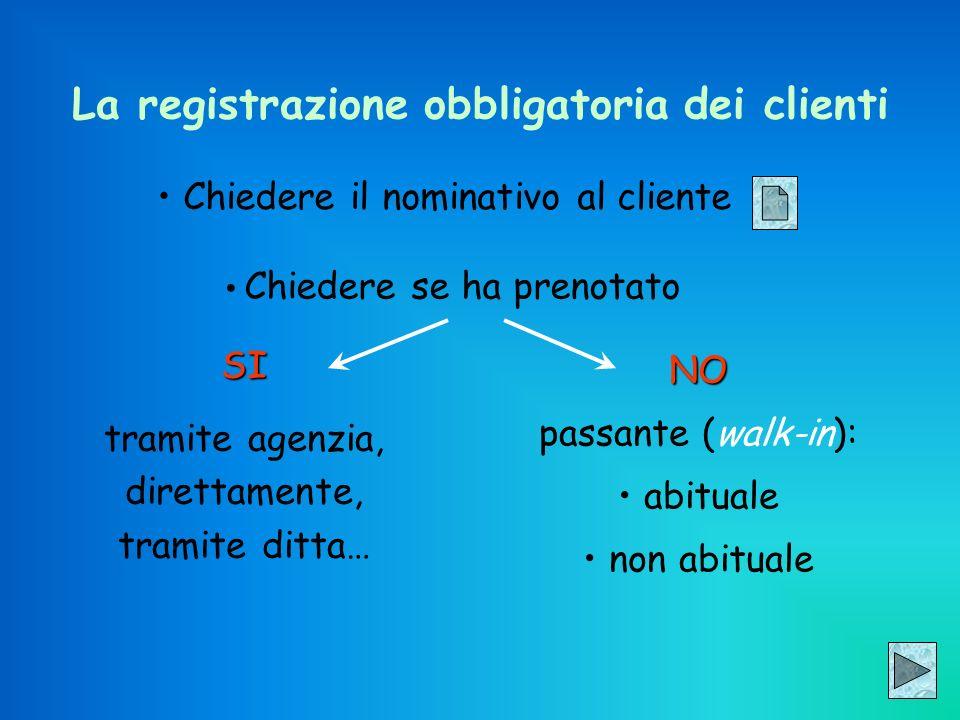 Chiedere il nominativo al cliente La registrazione obbligatoria dei clienti Chiedere se ha prenotato SI tramite agenzia, direttamente, tramite ditta…