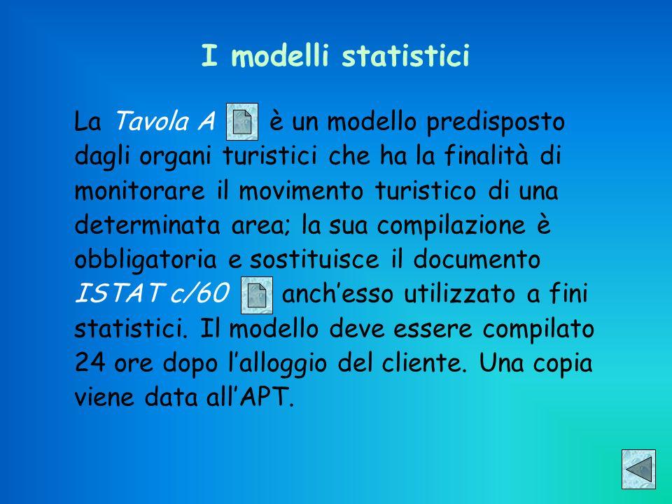 I modelli statistici La Tavola A è un modello predisposto dagli organi turistici che ha la finalità di monitorare il movimento turistico di una determ